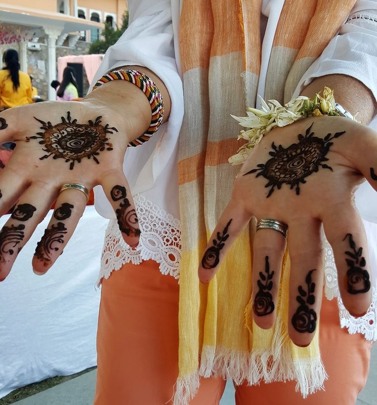 Mehendi design as part of a traditional Indian wedding in Udaipur, Rajasthan, India. Henna is used to decorate the hands and feet of the bride and her guests. katiesargentdesign.com
