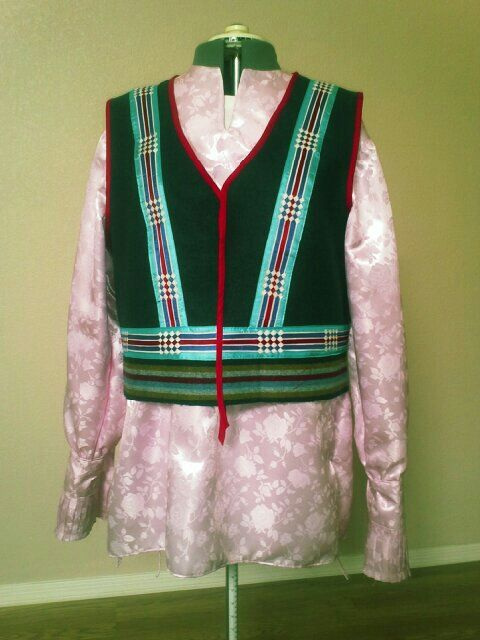folded ribbon work Vest with Osage design with pink satin ...
