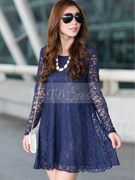 Long lace winter dresses for women