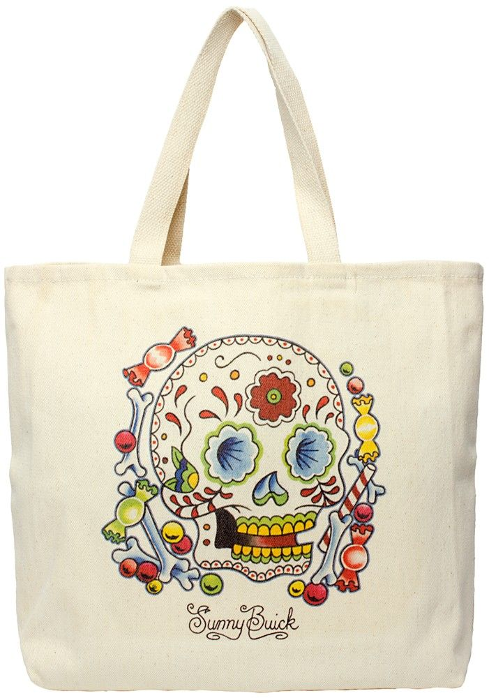 CANDY SUGAR SKULL TOTE BAG  Got a sweet tooth?! Now you can carry your treats around in your very own Candy Sugar Skull bag! This cotton tote bag features a super sweet sugar skull designed by artist Sunny Buick.  $20.00