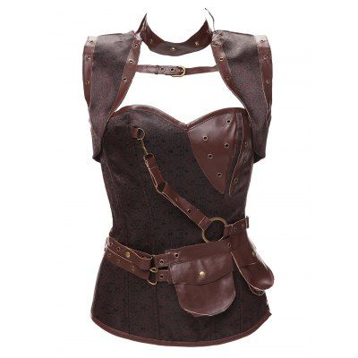 Just US$41.56 + free shipping, buy Brown Gothic Faux Leather Belted Corset online shopping at GearBest.com.
