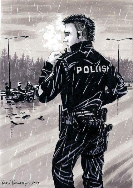 A finnish police officer overlooking a car crash. Done in black ink and grey promarkers.
