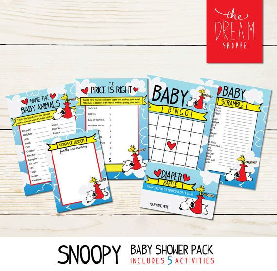 Snoopy Baby Shower Game Pack  Digital Download by TheDreamShoppeCo                                                                                                                                                                                 More