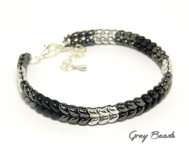 Grey Beads: Cieniowana branoletka