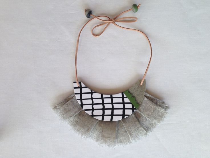 Statement necklace - black, white, grey and olive with grey linen fringing and leather details