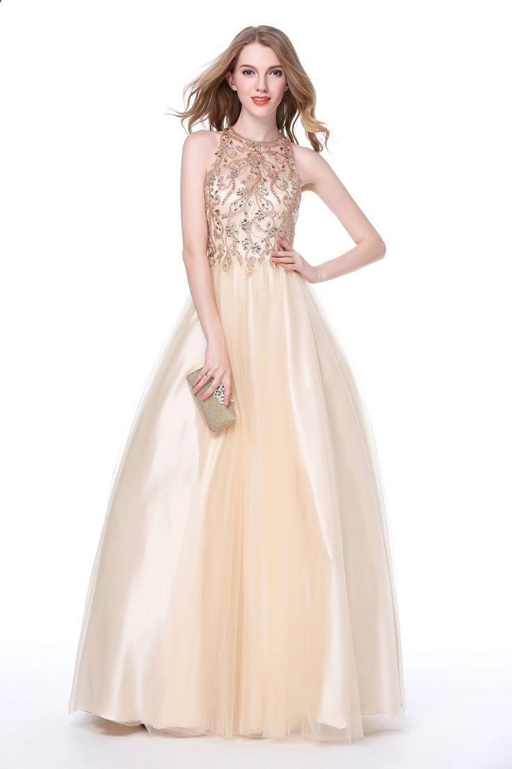 Luscious Delia Women\'s Prom Dresses Tulle Sweetheart Beaded Halter ...