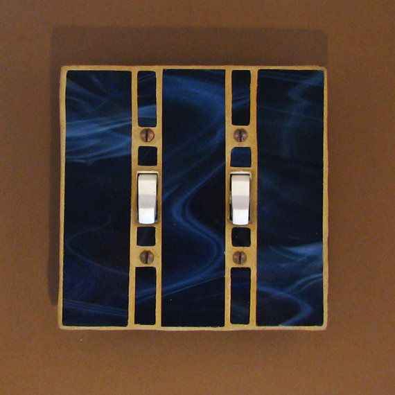 Light Switch Cover - Stained Glass - Navy Blue Switch Plate - Double Toggle - Wall Plate - Switch Plate Cover - 7570