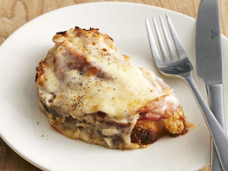 Croque Monsieur : This decadent breakfast comes together in less than 30 minutes. Marc opts for an open-faced version with thick country white bread and Black Forest ham.