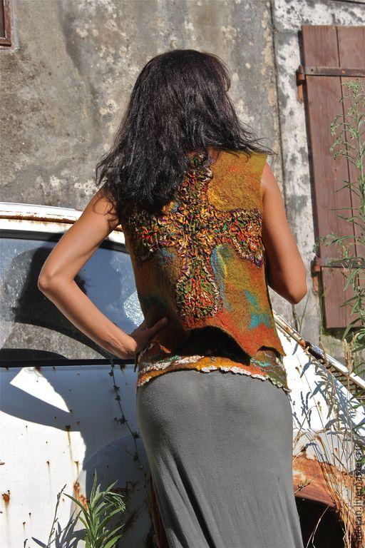 Купить Мазаика - коричневый, Мокрое валяние, модная одежда, одежда для женщин, одежда, ручная работа