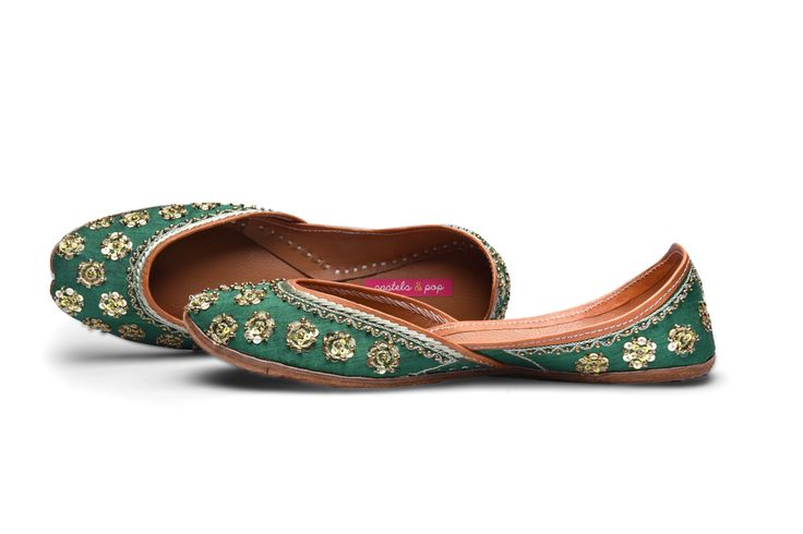 Royal green indeed ! Perfect for the festive season - juttis by Pastels and Pop