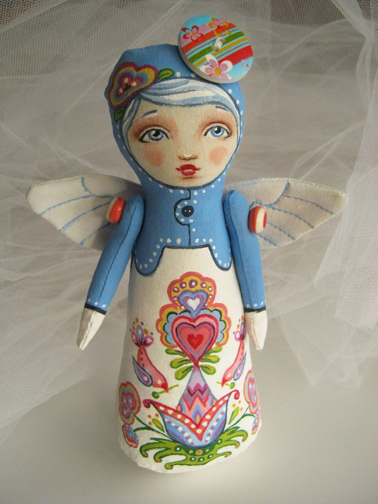 Kurbits Inspired Stump Doll Angel by Hally Levesque of Creative Doll Works