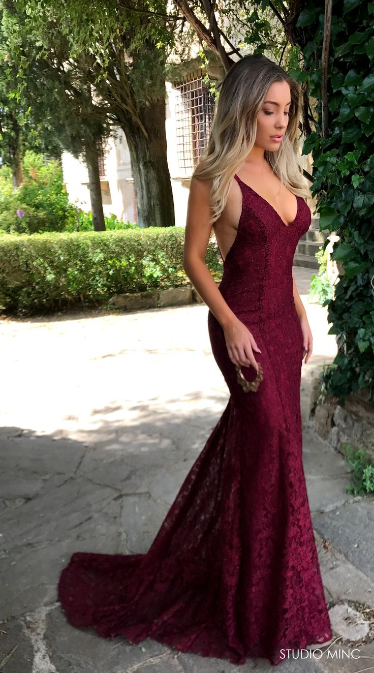 MAROON MYTHICAL DRESS BY STUDIO MINC #BURGUNDY #LACE #BACKLESS #FORMAL #PROM #DRESS