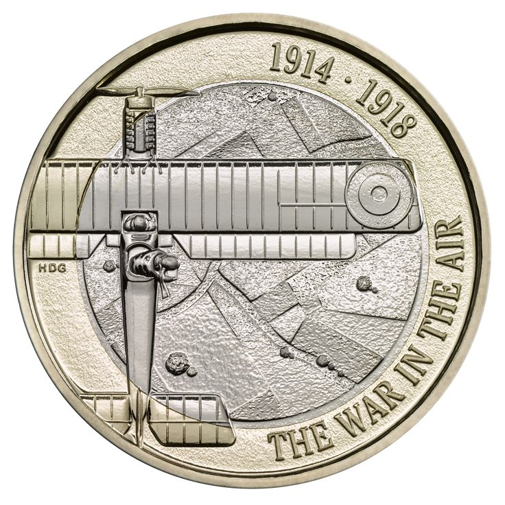 The First World War Aviation £2 coin remembers The Royal Flying Corps and its contribution to the defence of Britain's skies in the First World War using new aircraft technology.