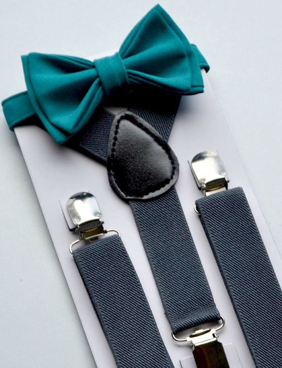 Charcoal Suspenders  Teal Bow Tie --