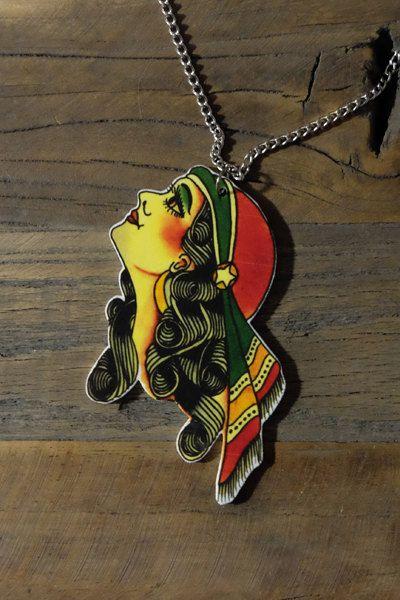 Old school tattoo gypsy lady necklace by Little Rat´s Boutique. #handmade #diy #jewellery #jewelry #vintage #etsy #statementnecklace #gypsy #tattoo #oldschool #shrinkplastic