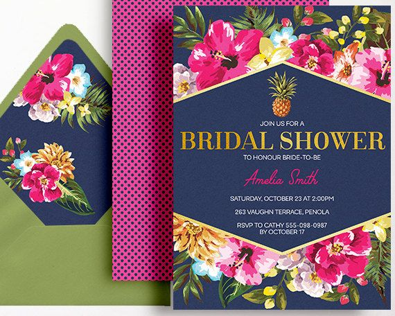 tropical bridal shower invitation navy pink gold printable beach pool party bachelorette hens night luncheon brunch pineapple bridal shower ideas in 2018