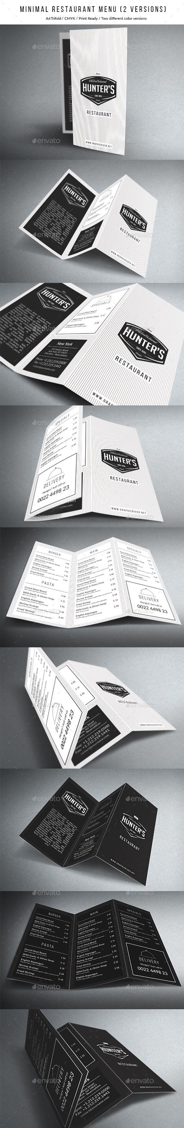 White apron menu warrington - Minimal A4 Trifold Menu 2 Versions
