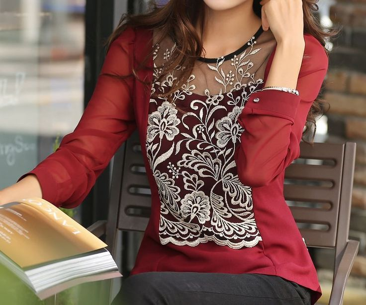 StyleOnMe_Feminine Classy Floral Embroidered Blouse_Made in Korea #StyleOnMe #Blouse #Career www.styleonme.com www.facebook.com/styleonmeEn