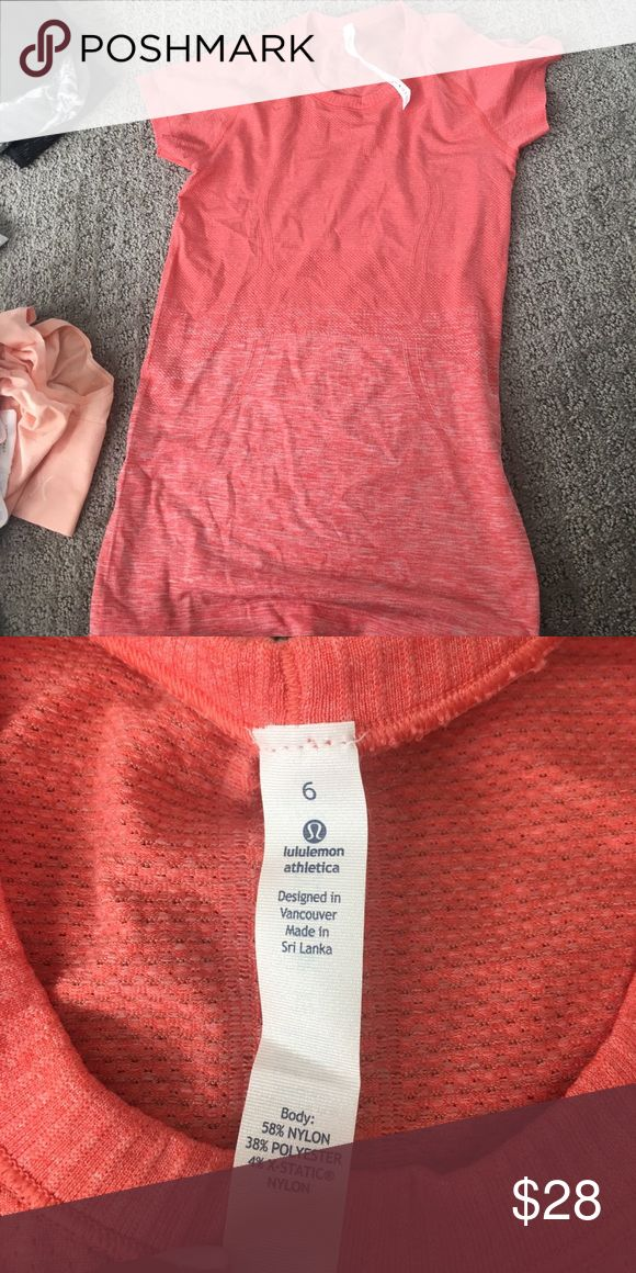 Lululemon top swiftly tech Coral top! Great condition lululemon athletica Tops Tees - Short Sleeve