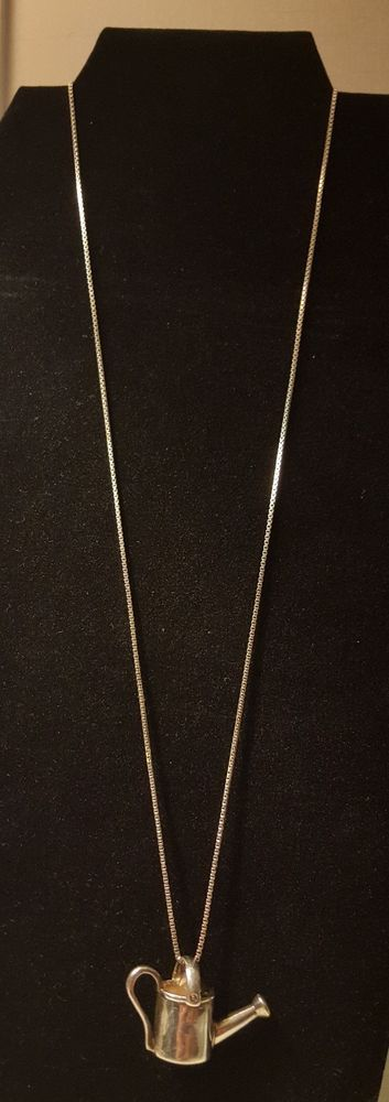Vintage Sterling Silver 925 Heavy Water Can Necklace Long Sterling Chain #Chain