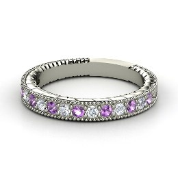 Victoria Band, White Gold Ring with Amethyst: Wedding Ring, 14K White, Diamonds, Bands Rings, Delicate Bands, Jewelry, White Gold Rings, Rose Gold Rings, Victoria Bands