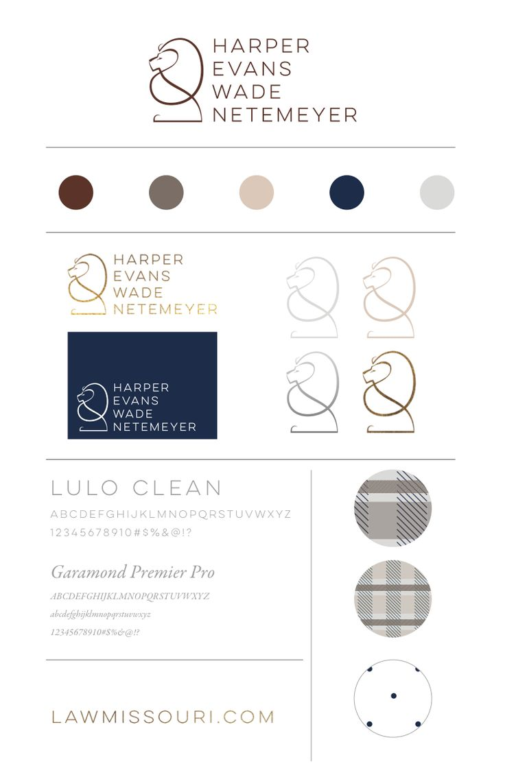 Final brand board for Harper Evans Wade & Netemeyer Law Firm. Legal firm graphic design and brand identity/branding. | Hoot Design Co. | Logo, Business Web Design in Columbia, MOHarper Evans Wade & Netemeyer