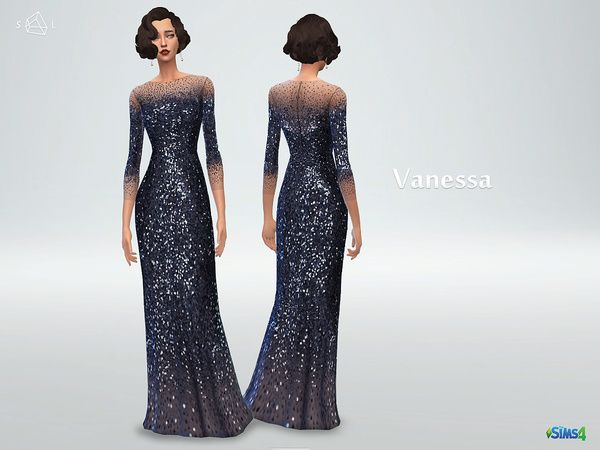starlord's Long Sleeve Sequined Gown VANESSA | Sims 4 Updates -♦- Sims Finds & Sims Must Haves -♦- Free Sims Downloads