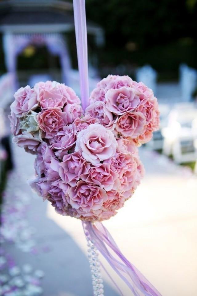 cute mickey mouse floral for disney wedding aisle decor