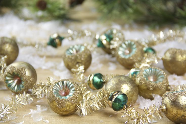 Vintage Glass & Tinsel Garland. I love vintage style Christmas decorations! These romantic glass and tinsel garlands are perfect for my Christmas tree.