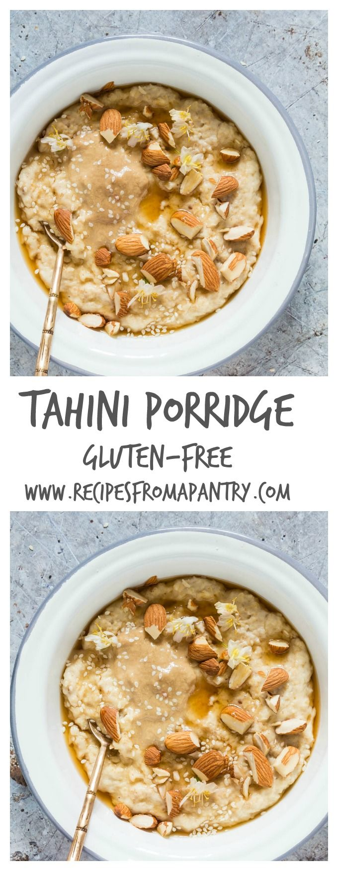 Breakfast is so simple with this gluten-free creamy tahini porridge recipe. It is just milk, oats, tahini, honey and almond nuts | recipesfromapantry.com