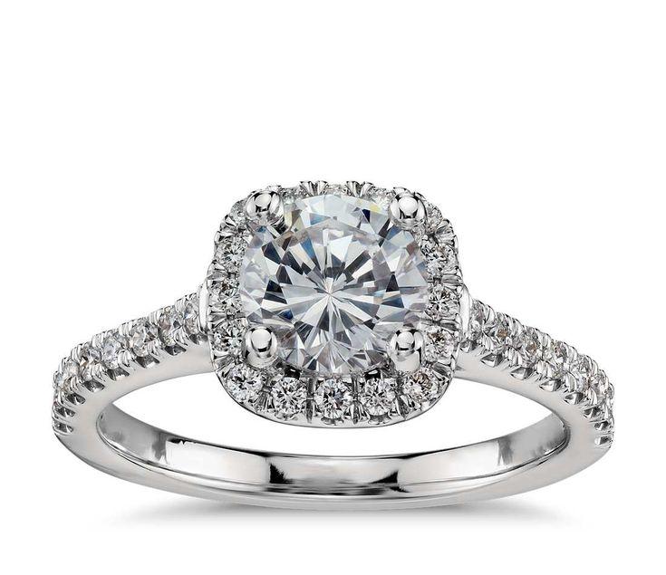 Cushion Halo Diamond Engagement Ring in Platinum (1/3 ct ...