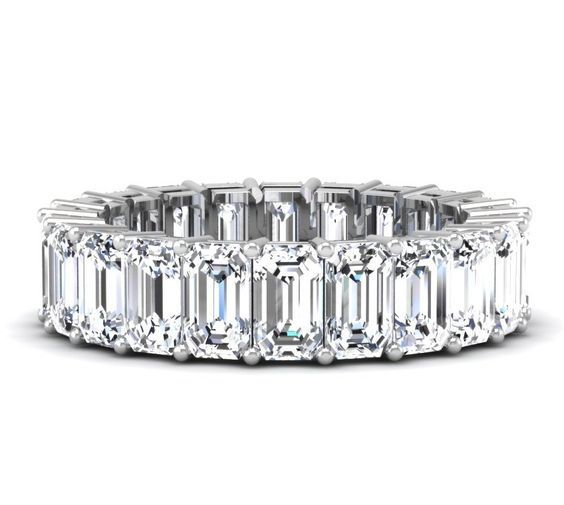 5 Carat Emerald Cut Diamond Eternity Band