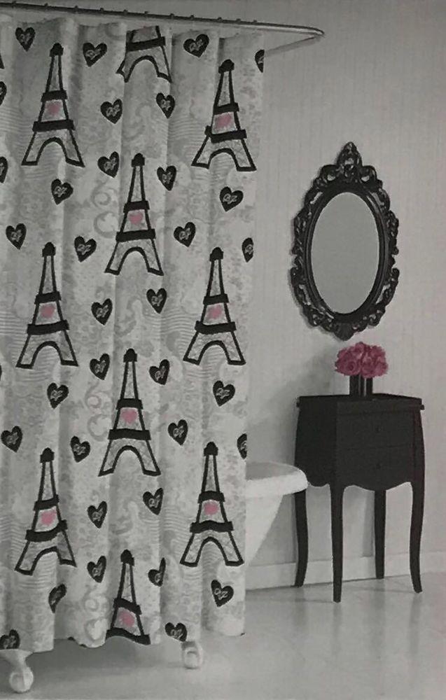 Betsey Johnson Shower Curtain Set Paris Theme With Roller Ball Hooks BetseyJohnson Modern Bathroom Bath ModernBath EiffelTower