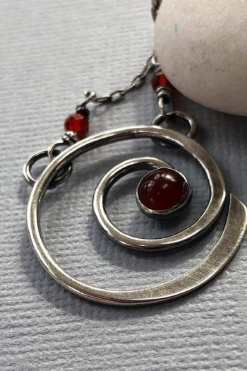 5c10f11ea Oxidized Sterling Silver Necklace With Carnelian/ Spiral Necklace With  Carnelian/ Carnelian Necklace/ Silver Spiral Necklace / beads handcrafted  handmade ...