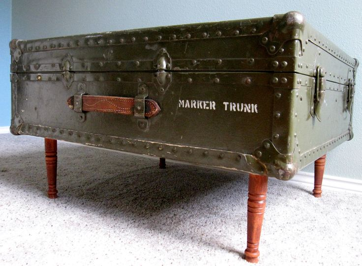 Exceptional Vintage Industrial Green Military Trunk Coffee Table With Cedar Lining.