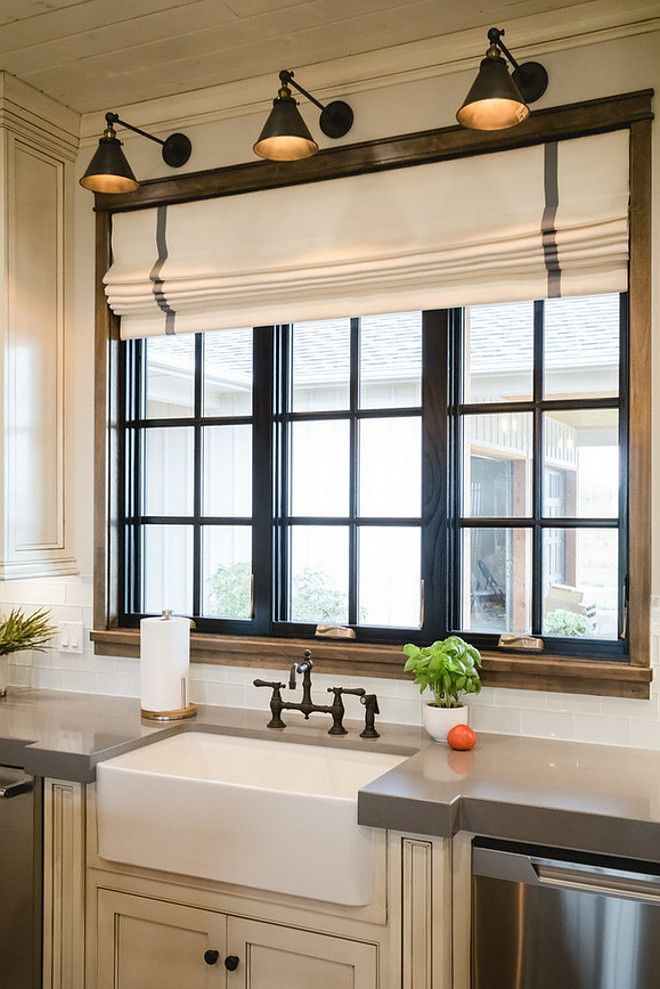Gorgeous Farmhouse Kitchen Love The Lights Roman Blind Window Color Trim Combo Farmhouse Sink And Concrete Countertops