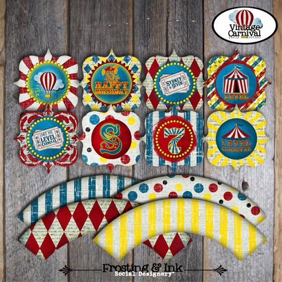 Carnival Party  Circus Party  Cupcake Toppers & by frostingandink, $12.00