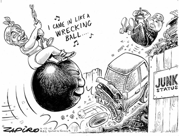 Zapiro's animated look at how SAA chairwoman Dudu Myeni and President Jacob Zuma are literally wrecking the South African economy. More wizardry available at zapiro.com.