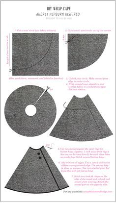 DIY Audrey Inspired Cape | In Honor Of Design 1 yard of fabric, folded in 4ths, a couple buttons and some velvet ribbon