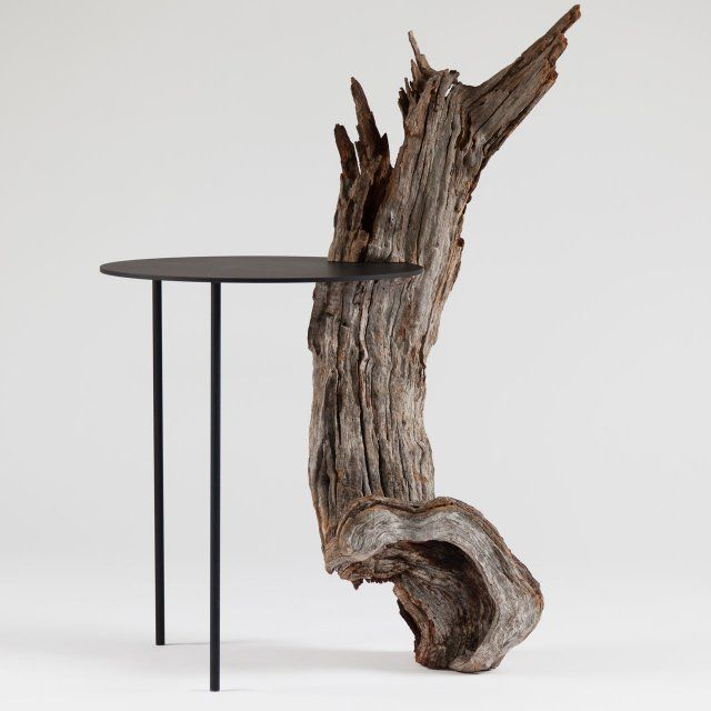 Epitome of modern rustic design    Tomás Alonso . Pierre and the almond tree, aluminum table   http://victor-hunt.com/collection/serie/tomas-alonso-pierre-and-almond-tree