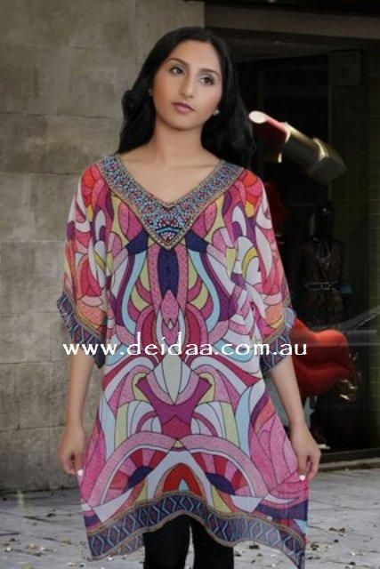 Digital printed kaftans  are a natural choice for summer. In winter, digital printed kaftans can be teamed up with cardis.   Explore online dress shops in Australia like Deidaa to pick up digital printed kaftans. These are colourful and lightweight. They make an easy transition from day to evening or casual to formal. Digital printed kaftan dresses look good on one and all.  Price AUD 65.00  http://www.deidaa.com.au/shop/graphic-printed-kaftan-digital-red/