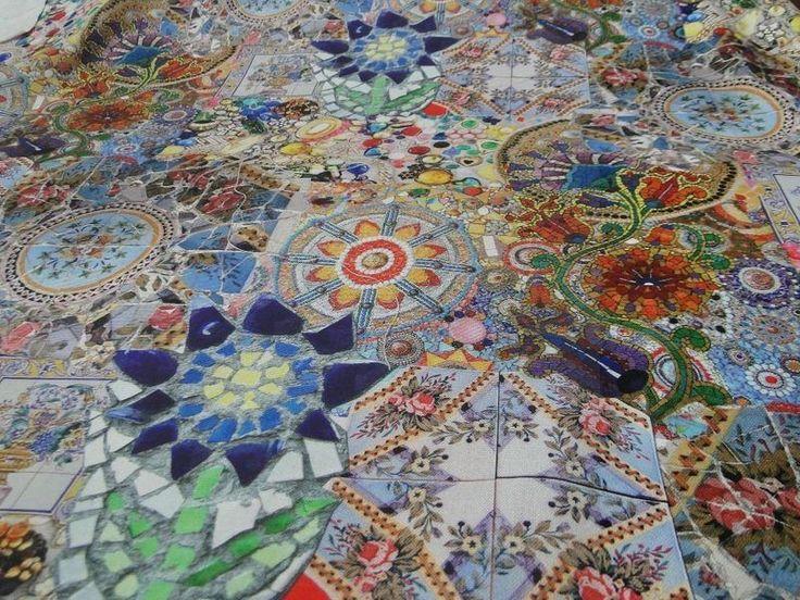 "Decoratiestof digitale print ""mozaik"" blauw D802"