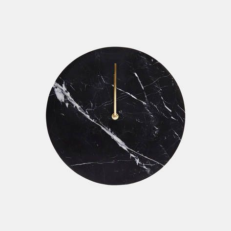 Menu — Black Marble Wall Clock with Brass Hands