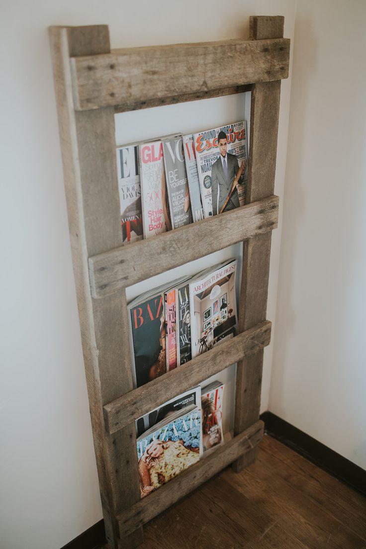 Barn ladder magazine rack