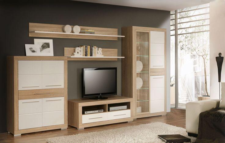 Moderne Wohnwand Andrea II in trendigen Farben bestehend aus: 1x Highboard mit 4 Einlegeböden 4 Türen und einem Schubkasten B/H/T ca. 100 x 133 x 36 cm 1x Vitrine mit 5 Glasböden und...