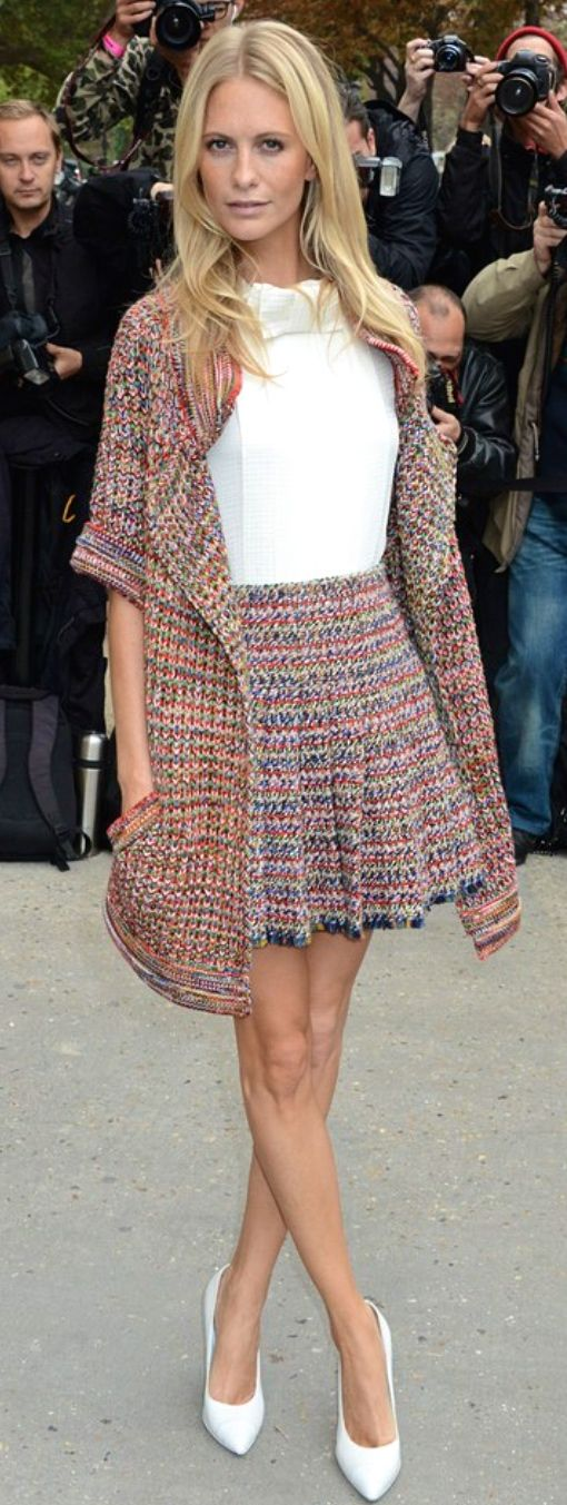 Poppy Delevingne in Chanel, knitted ensemble: cardigan & skirt.