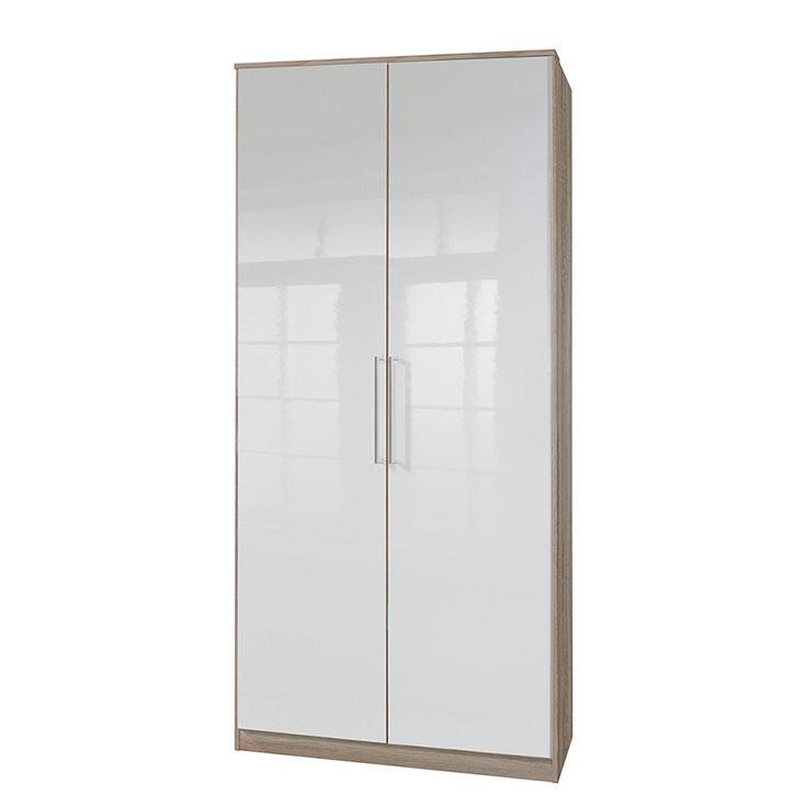 Armoire portes battantes claudine 2 portes blanc nacr ch ne brut de - Armoire pin brut a peindre ...