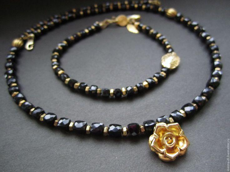 """Купить Браслет """"Черная шпинель"""" серебро, золото - черный, браслет из камней, браслет из шпинели"""
