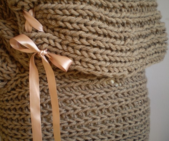 Cardigan/Shrug-Cable knitted in Light brown/camel with Peachy Pink Silk Ribbon by NervousWardrobe on EtsySilk Ribbon