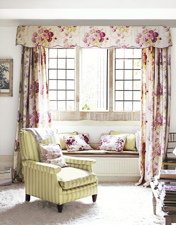 160 best cabbage rose images on pinterest armchairs for Window seat curtains
